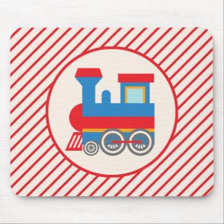 Tren rojo y azul retro alfombrilla de ratón