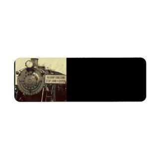 Tren rústico etiqueta de remite