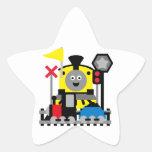 Tren sonriente pegatina en forma de estrella