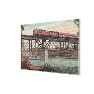 Tren- Tippecanoe/río de Tippecanoe que cruza Impresión En Tela