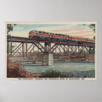 Tren- Tippecanoe/río de Tippecanoe que cruza Póster