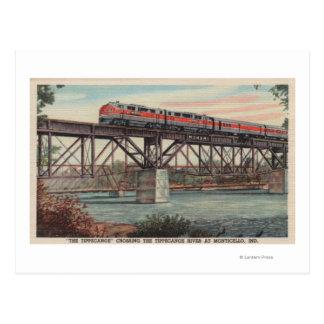 Tren- Tippecanoe/río de Tippecanoe que cruza Tarjetas Postales