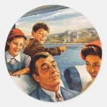 Tren Trip de la familia del kitsch retro del Pegatina Redonda