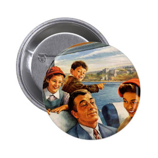 Tren Trip de la familia del kitsch retro del vinta Pin Redondo De 2 Pulgadas