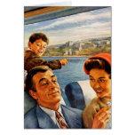 Tren Trip de la familia del kitsch retro del vinta Felicitacion