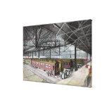 Tren vertido en la estación de la unión impresión en tela