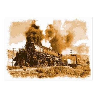 Tren viejo del vapor tarjetas de visita grandes