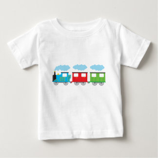 Tren y dos carros playera de bebé