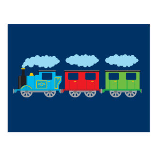 Tren y dos carros postales