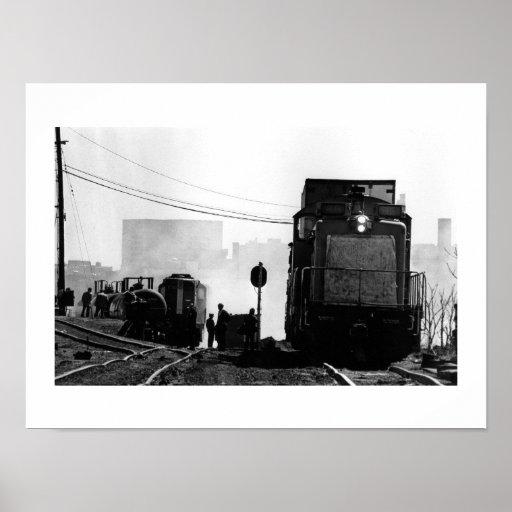 Tren y gente póster