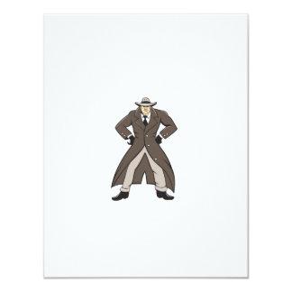 """Trenchcoat detective da el dibujo animado en invitación 4.25"""" x 5.5"""""""