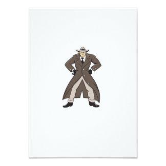 """Trenchcoat detective da el dibujo animado en invitación 4.5"""" x 6.25"""""""