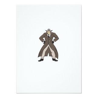 """Trenchcoat detective da el dibujo animado en invitación 5.5"""" x 7.5"""""""