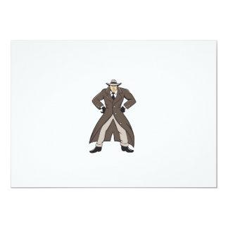 """Trenchcoat detective da el dibujo animado en invitación 5"""" x 7"""""""