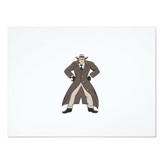 """Trenchcoat detective da el dibujo animado en invitación 6.5"""" x 8.75"""""""