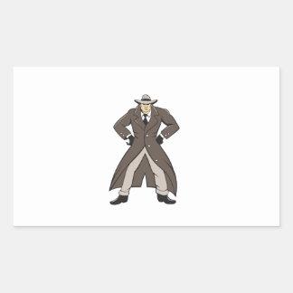 Trenchcoat detective da el dibujo animado en pegatina rectangular