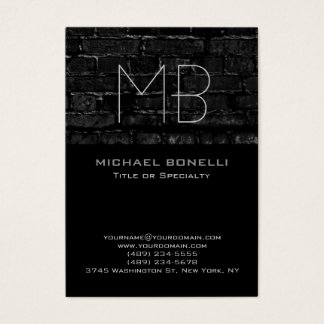 Trend chubby modern brick wall black business card
