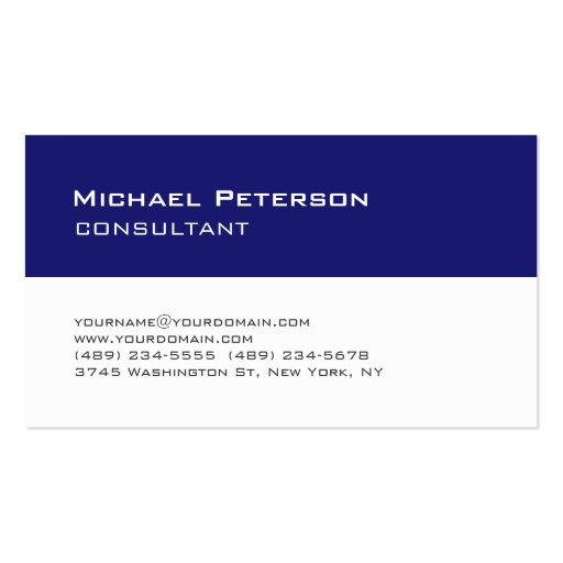 Trend Midnight Blue White Consultant Business Card Business Cards