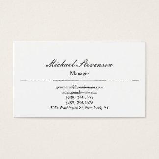 Trend Plain Classical White Standard Business Card
