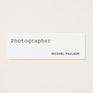 Trend Plain Skinny White Photography Business Card