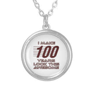 TRENDING 100 YEAR OLD BIRTHDAY DESIGNS SILVER PLATED NECKLACE