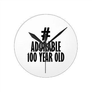 TRENDING 100 YEARS OLD BIRTHDAY DESIGNS ROUND CLOCK