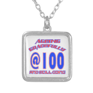 TRENDING 100 YEARS OLD BIRTHDAY DESIGNS SILVER PLATED NECKLACE