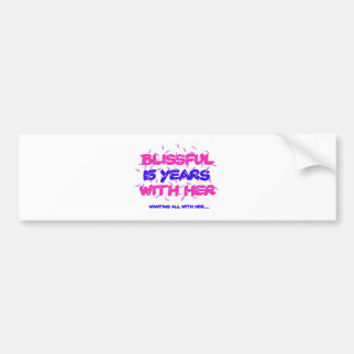 Trending 15TH marriage anniversary designs Bumper Sticker
