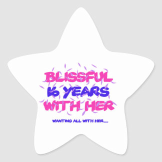 Trending 16th marriage anniversary designs star sticker