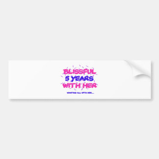 Trending 5th marriage anniversary designs bumper sticker