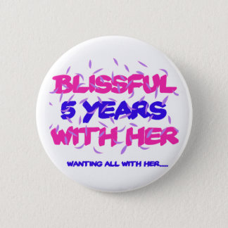 Trending 5th marriage anniversary designs pinback button