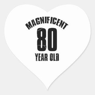 TRENDING 80 YEAR OLD BIRTHDAY DESIGNS HEART STICKER