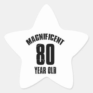 TRENDING 80 YEAR OLD BIRTHDAY DESIGNS STAR STICKER