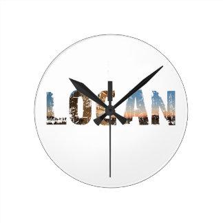 TRENDING and cool Logan name designs Round Clock