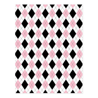 Trending black pink white plaid pattern accessory postcard