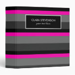 trending bright neon pink black and grey striped binder