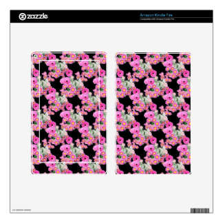 Trending Pink black floral pattern accessories Decals For Kindle Fire