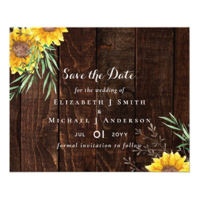 Trending Rustic Wedding Save Date Sunflowers Flyer
