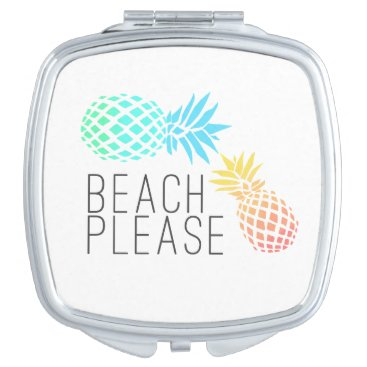 """Beach Themed trending summer """"beach please"""", colorful pineapple mirror for makeup"""