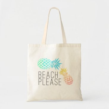 """Beach Themed trending summer """"beach please"""", colorful pineapple tote bag"""