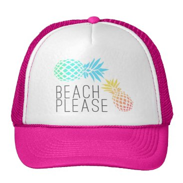 "Beach Themed trending summer ""beach please"", colorful pineapple trucker hat"