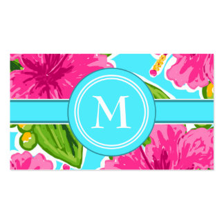 Trending Teal and Pink Tropical Floral Initial Business Card