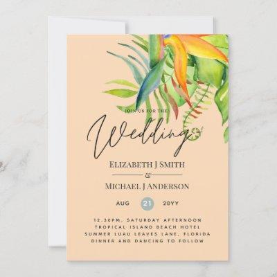 Trending Tropical Leaves Wedding Luau Reception