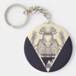 Trendium Vintage Symmetrical Skeleton Triangle Basic Round Button Keychain