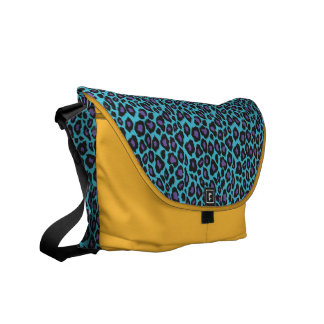 Trendy 2014 Teal and Purple Leopard Print Courier Bags