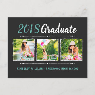 Graduation invitation postcards zazzle trendy 3 photo collage graduation party invitation filmwisefo