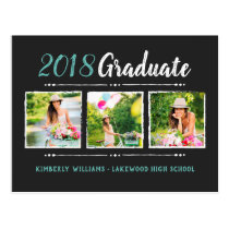 Trendy 3 Photo Collage Graduation Party Invitation Postcard
