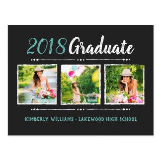 Trendy 3 Photo Collage Graduation Party Invitation Postcard