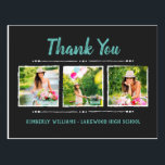 "Trendy 3 Photo Collage Graduation Thank You Postcard<br><div class=""desc"">Affordable custom printed graduation thank you postcards. This trendy Thank You card design features cute hand-lettered style typography personalized with your name and a photo collage layout for 3 square photos. We suggest cropping your photos to square before uploading for a perfect fit in this template. Personalize it with a...</div>"