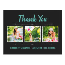 Trendy 3 Photo Collage Graduation Thank You Postcard